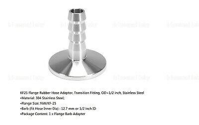 US Adapter KF-25 to OD 13mm Rubber Hose Barb Transition Fitting Stainless Steel