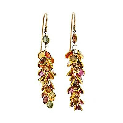 18K Gold and Multi Tourmaline and Citrine Dangling Gemstone Earrings
