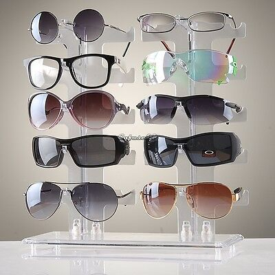 Stand Eyeglasses Holder Display 10 Pairs Acrylic Conveninet Free Shipping CaF8