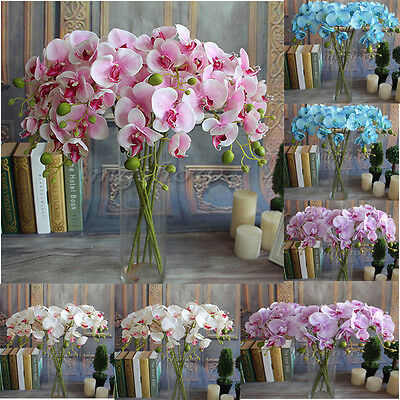 Artificial Silk Phalaenopsis Butterfly Orchid Leaf Pot Floral Bridal Home Decor