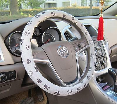 "Soft Comfy Flush Footprint Cartoon Car Steering Wheels Cover 38CM 15"" Grey"