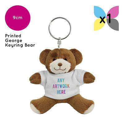 1 Personalised George Teddy Bear Keyring Promotional Logo Text Printing Gift