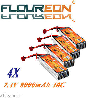 4X 2S 7.4V 8000mAh 40C Lipo RC Battery Pack Deans for RC Helicopter Car RC Hobby
