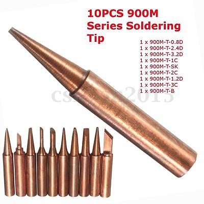 10 Pure Copper Soldering Solder Iron Tip For 900M 936 937 938 969 936A 8586 852D