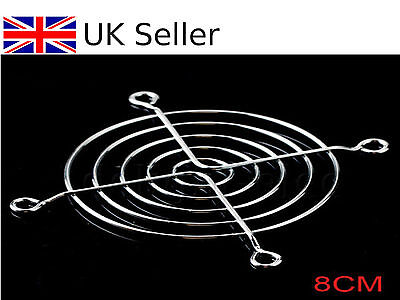 80mm PC Chrome Wire Fan grill / Cover / Guard Protector UK SELLER
