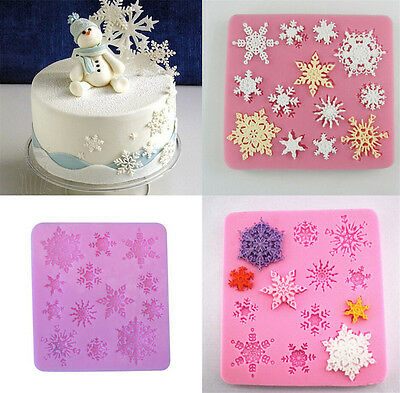 Pink Silicone Snowflake DIY Fondant Cake Pastry Molds Moulds Form Decor Useful