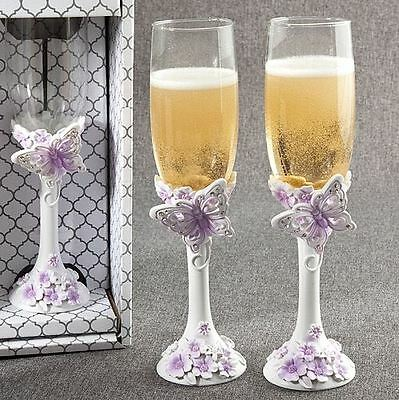 Pair of Butterfly Toasting Wedding Party Wine Champagne Flutes Glasses - Lilac