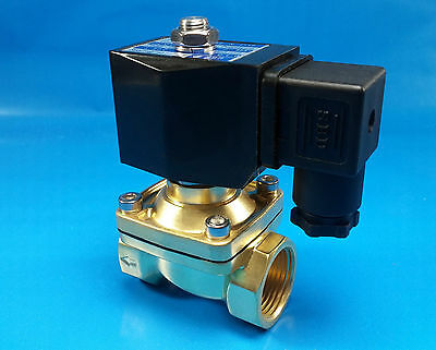 "1"" NPT 110/120VAC Electric N/C Brass Solenoid Valve: Air Water Vacuum Diesel NBR"