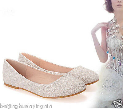 2017 New Fashion Womens Girls Lace Flat shoes Ballet shoes Wedding Bridal Shoes