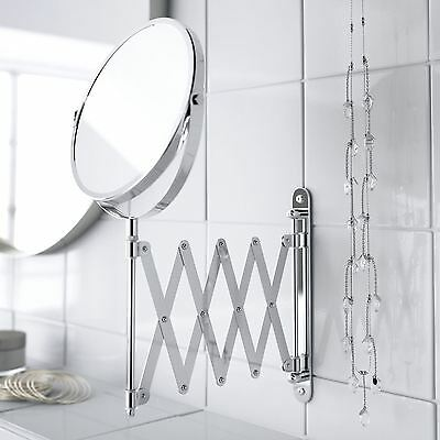 Wall Mounted Extending Folding Makeup Shaving Magnifying Chrome Bathroom Mirror