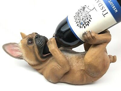 French Bulldog Frenchies Pup Dog Wine Bottle Holder Stands Racks Gift Home Decor