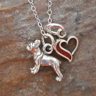 Boston Terrier Mini Heart Sterling Silver Necklace JNDP7 NEW-FREE SHIPPING