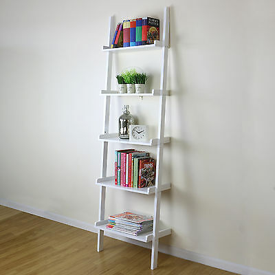5 Tier White Ladder Wall Shelf Home Storage/Display Unit Bookcase Stand Bathroom