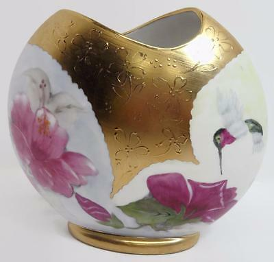 Hand Painted Gold Textured Vase Floral Hummingbird Artist Signed