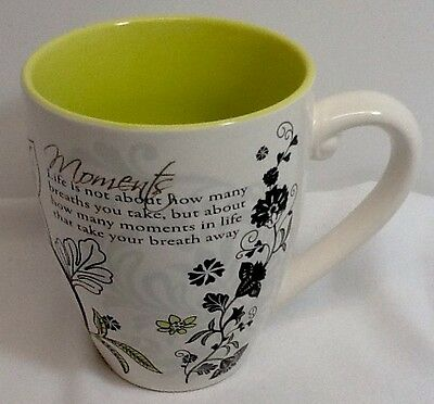 Mark My Words Green and Black Floral Large Coffee Mug Pavilion Gift Company 2012