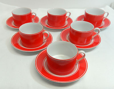 Fitz and Floyd Rondelet Rouge Set of 6 Cups and 6 Saucers Red and White Japan
