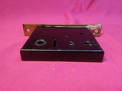 "Used Vintage Mortise Door Lock Box Is 3 1/2"" X 2 7/8"". For 1/4"" Square Shaft (X)"