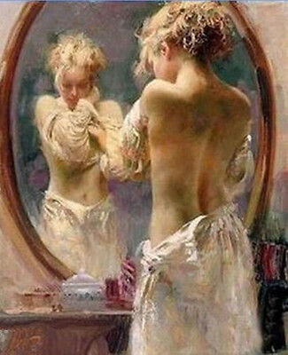 YA007 Modern Art Deco Hand-painted oil painting Beautiful girl dressing 24x36in