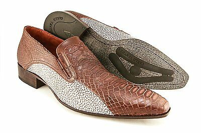 Carlo Ventura 2439 Men's Slip-On Shoe In Ostrich Leg Print Leather