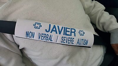 Personalized Emergency Seat Belt Cover: Autism, Special Needs,any Medical Alert