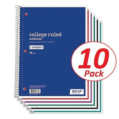 Spiral Notebook 1 Subject 70 Sheets College Ruled LOT OF 10 Spiral Notebooks