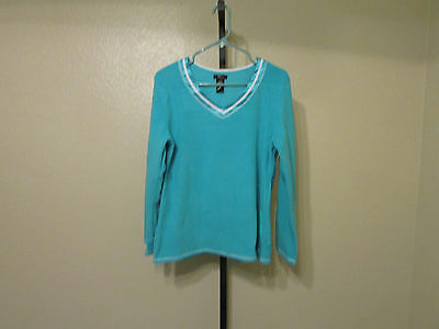 NWT Aria Women's Long Sleeve Pajama Sets-Size-Small-Color-Teal Paisley