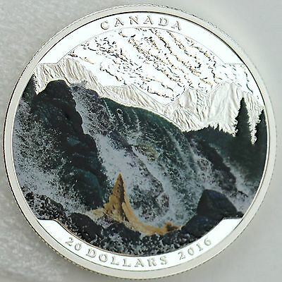 Canada 2016 $20 Landscape Illusion: Salmon, Pure Silver Color Proof Coin