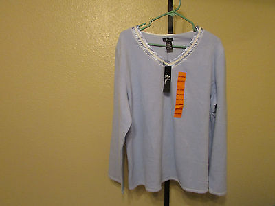 NWT Aria Women's Long Sleeve Pajama Sets-Size-Small-Color-Lt. Blue/White