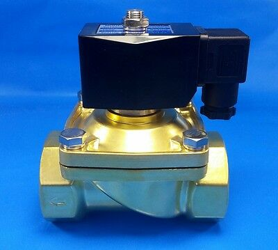 "1-1/4"" NPT 110/120VAC Electric N/C Brass Solenoid Valve: Air Water Vacuum Diesel"