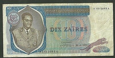 1971 Congo Democratic Republic 10 Zaires Currency Note 15 Ppaer money Ten F-VF