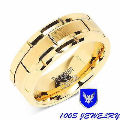 8mm Men's Tungsten Ring Wedding Band 14k Gold Brush Center & Grooves Size 8-15