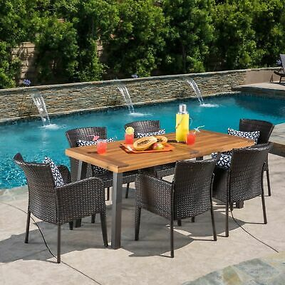 Delgado 7 Piece Outdoor Dining Set (Wood Table w/ Wicker Chairs)