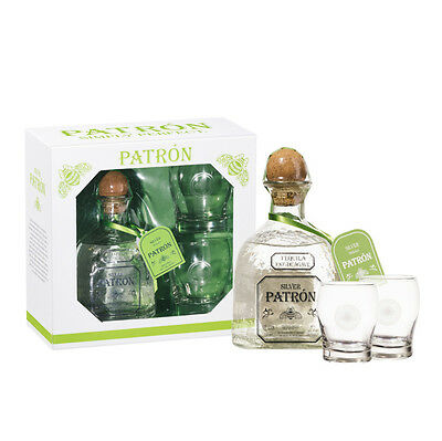 Patron Silver Tequila 750 Ml Gift Pack 2 Free Glasses