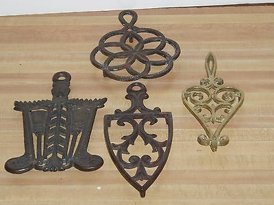 4) Sad Iron Stand Trivets Brass Cast Iron Triangle Cathedral Rings Lincoln Drape