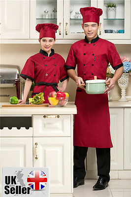 Chef Jackets Short Sleeve Half Sleeve Chef Clothing Chefwear Red Unisex