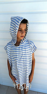 Kids Beach Poncho Towel Hooded Robe Swimming Pool One Size Turkish Cotton Unisex