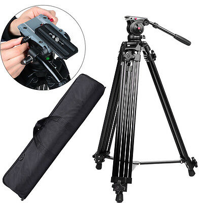 72''Professional Heavy Duty DV Video Camera Tripod w/Fluid Pan Head Kit For DSLR