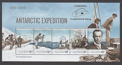 Aat Antarctic Expedition M/s Overprinted Canberra Stampshow 2014 (Jd5743)