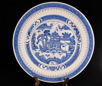"""Chinese Blue & White Canton Pagoda Plate 9"""""""
