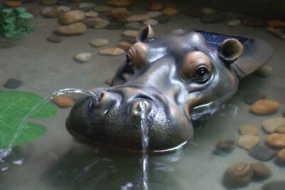 Solar Water Fountain Floating Hippo Spitter Feature for Pond Pool Garden