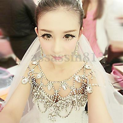 Crystal Shoulder Chain Necklace Earrings Bracelet Wedding Bridal Party Jewelry
