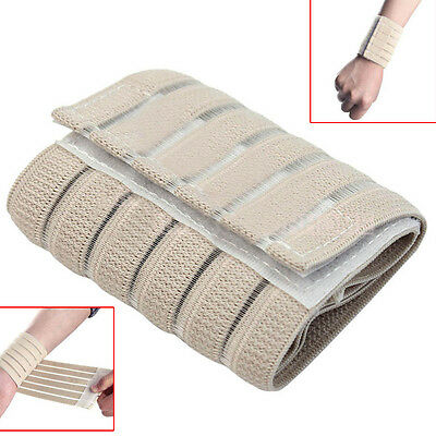 Elasticated Wrist Wrap Support Compression Strap Beige Arthritis Medical Fitness