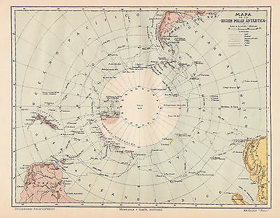 1912 Antique Map of Antarctica