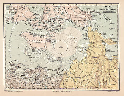 1912 Antique Map of the North Pole and the Arctic Region