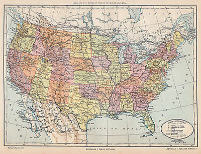 1912 Antique Map of the U.S.