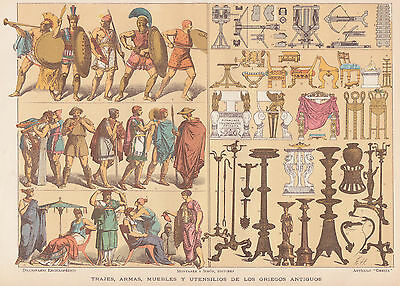 1912 Antique Ancient Peoples Prints - Collection of 3