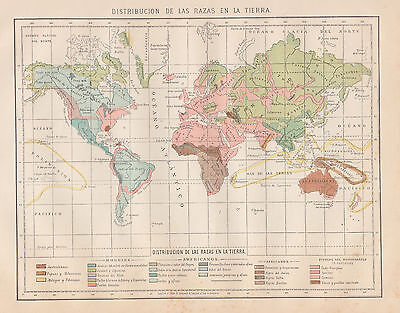 1912 Antique World Map of Racial Distribution