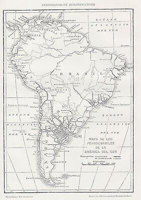 1912 Antique Map of Railroads of South America