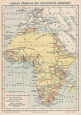 1912 Antique Map of Railroads of Africa