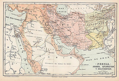 1912 Antique Map of the Middle East